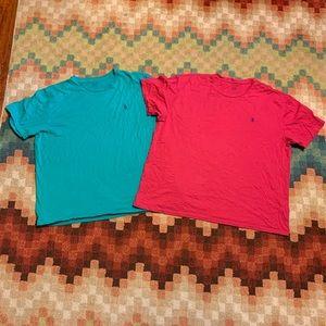 Ralph Lauren Polo T-shirt Lot XL Green & Pink